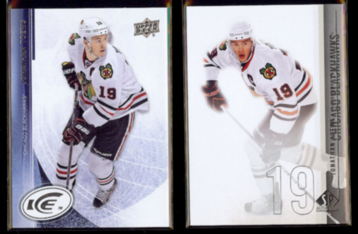 JONATHAN TOEWS 2013 UD Ice #30 + 2010 UD SP Authentic #37.  BLACKHAWKS