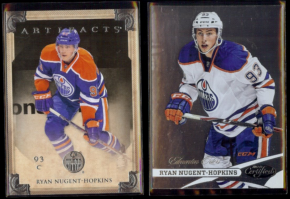 RYAN NUGENT-HOPKINS 2013 UD Artifacts #88 + 2012 Panini Certified #93.  OILERS
