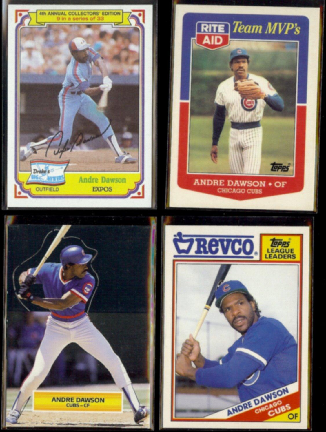 ANDRE DAWSON (4) Card 1980's Oddball Lot.  EXPOS / CUBS