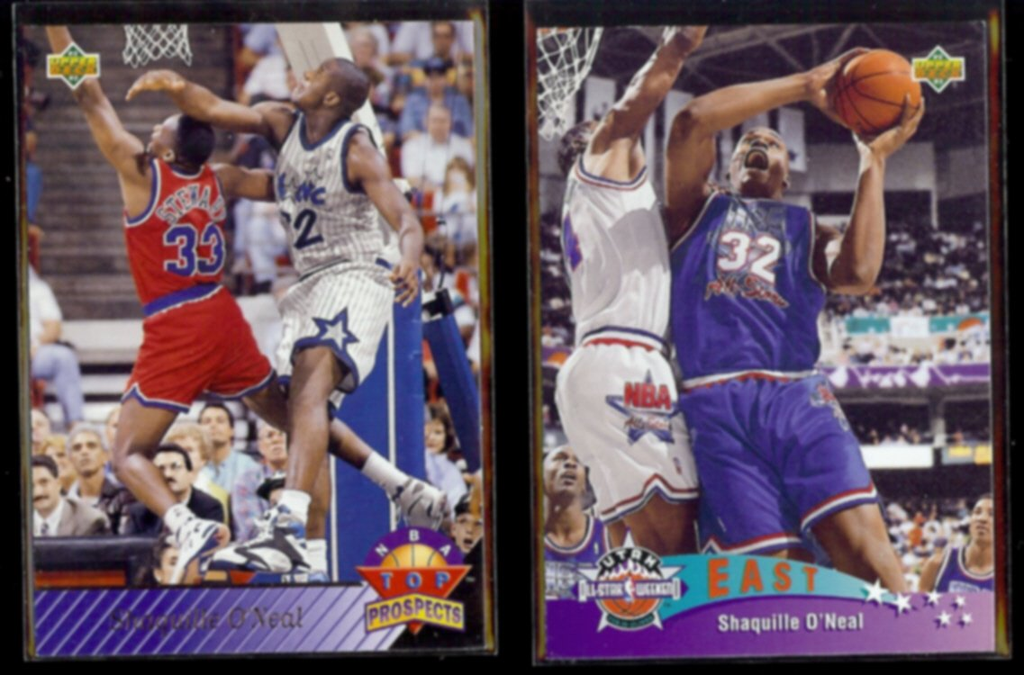SHAQUILLE O'NEAL 1992 Upper Deck Top Prospects #474 + All Star #424.  MAGIC