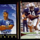 BO JACKSON 1991 Fleer Pro Vision #5 of 12 + 2012 Upper Deck #10.  ROYALS / AUBURN