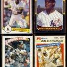 RICKEY HENDERSON (4) Card Lot (1982, 1987 + 1989).  A's / YANKEES