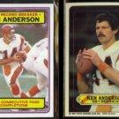 KEN ANDERSON 1983 Topps Record Breaker #1 + Sticker #2.  Riggins on back.  BENGALS