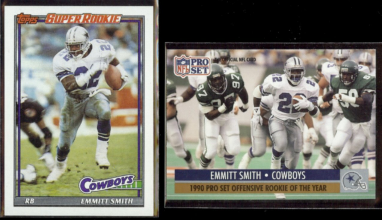 EMMITT SMITH 1991 Topps Super Rookie #360 + 1991 Pro Set ROY #1.  COWBOYS