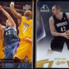 KEVIN LOVE 2009 Upper Deck #107 + 2010 Panini Absolute Foil #17.  TWOLVES