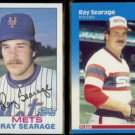 RAY SEARAGE 1982 Topps #478 + 1987 Fleer #506.  METS / WHITE SOX
