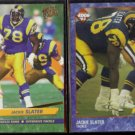 JACKIE SLATER 1992 Ultra #212 + 1993 Edge #203.  RAMS