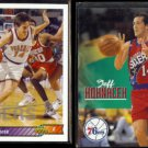 JEFF HORNACEK 1992 Upper Deck Traded #22 + 1992 Skybox #384.  76ers