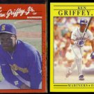 KEN GRIFFEY Jr. 1990 Donruss #365 + 1991 Fleer #450.  MARINERS