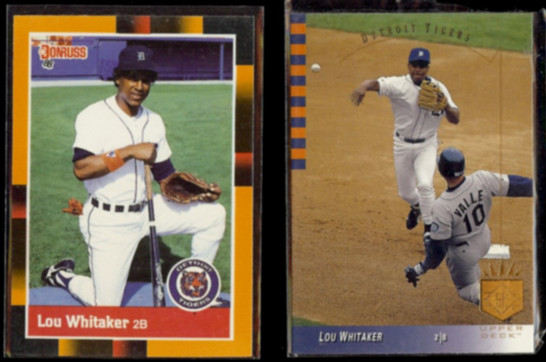LOU WHITAKER 1988 Donruss Best #315 + 1993 UD SP #243.  TIGERS