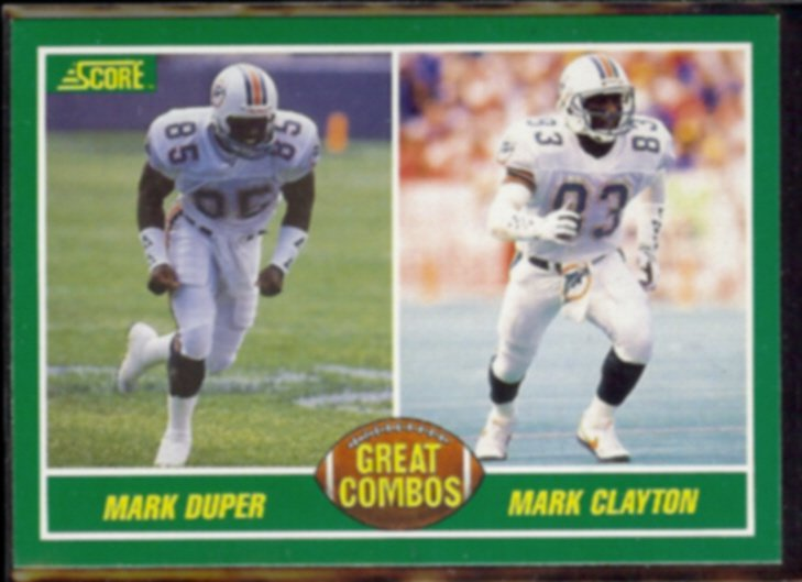 MARK CLAYTON / MARK DUPER 1989 Score Great Combos #283.  DOLPHINS