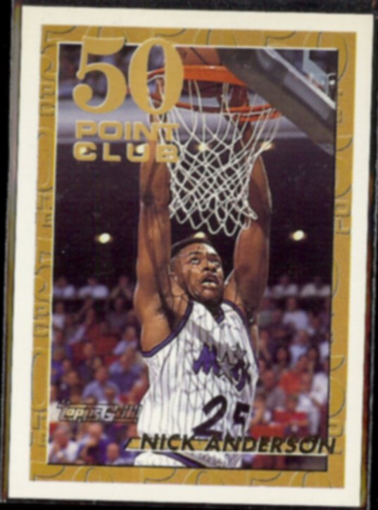 NICK ANDERSON 1993 Topps GOLD (50 Point Club) Insert #50.  MAGIC