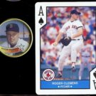 ROGER CLEMENS 1989 Topps Coin #37 + 1990 US Playing Card Co. A-Spades.  RED SOX