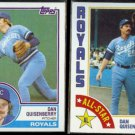 DAN QUISENBERRY 1983 Topps #155 + 1984 Topps AS #407.  ROYALS
