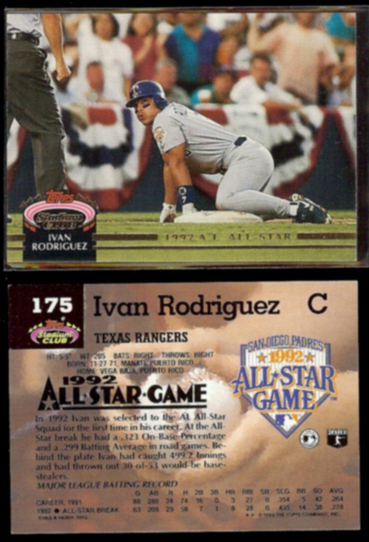 IVAN RODRIGUEZ (2) 1992 Stadium Club All Star #175.  RANGERS