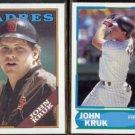 JOHN KRUK 1988 Topps #596 + 1988 Score Young Stars #17 of 40.  PADRES