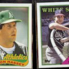 RON HASSEY 1989 Topps #272 + 1988 Topps #458.  A's / WHITE SOX