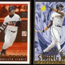 BARRY BONDS 1995 Topps Bazooka Play Ball #RH-3 + Pinnacle Swing Men #299.  GIANTS