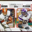 ADRIAN PETERSON 2010 Topps Gridiron Lineage Insert w/ Jim Brown.  VIKINGS