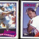 JOE CARTER 1989 Topps #420 + 1988 Topps #75.  INDIANS