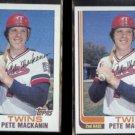 PETE MACKANIN (2) 1982 Topps #438.  TWINS