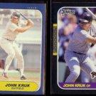 JOHN KRUK 1986 Fleer Update Rookie #U-61 + 1987 Donruss #328.  PADRES