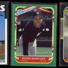 DENNIS RASSMUSSEN (3) Card Lot (1986 + 1987).  YANKEES