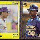TROY O'LEARY 1989 Star #6 + 1993 Bowman Foil #344.  BELOIT / BREWERS
