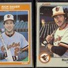 RICH DAUER 1985 Fleer #173 + 1983 Fleer #57.  ORIOLES