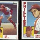 PHILLIES (2) 1984 Topps / BO DIAZ #535 + SIXTO LEZCANO #185.