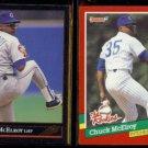 CHUCK McELROY 1992 Black GOLD Leaf Insert + 1991 Donruss The Rookies.  CUBS