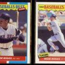 WADE BOGGS 1987 Fleer Best # 4 of 44 + 1986 Fleer Best #2 of 44.  RED SOX