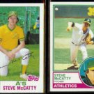 STEVE McCATTY 1982 Topps #113 + 1983 Topps #493.  A's
