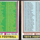 1974 Topps Football Checklist (133-264 + 265-396) - Unmarked