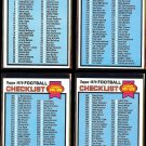1979 Topps Football Checklist 4- Cards (1-528) - Unmarked