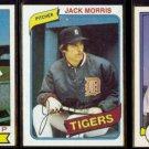 JACK MORRIS (3) Card Lot ((1979, 1980 + 1982)  TIGERS