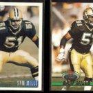 SAM MILLS 1993 Bowman #90 + 1993 Stadium Club #63. SAINTS.