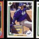 GARY CARTER (3) Card Lot 1990 Score + (2) 1991 Upper Deck.  METS / DODGERS / GIANTS