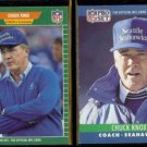 CHUCK KNOX 1989 #408 + 1990 Pro Set #308.  SEAHAWKS