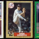 DAVE RIGHETTI (3) Card Lot (1984 - 1988).  YANKEES