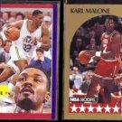 KARL MALONE 1991 Fleer AS #219 + 1990 Hoops AS #21.  JAZZ