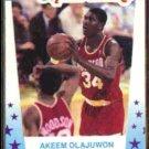 HAKEEM (Akeem) OLAJUWON 1989 Fleer All Stars Sticker #2.  ROCKETS