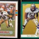 SAM MILLS 1989 Topps #155 + 1991 Fleer #301.  SAINTS