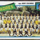 JERRY COLEMAN 1980 Topps PADRES Team Card #356.  CLIST