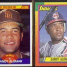 SANDY ALOMAR 1989 Score Rookie #630 + 1990 Topps Traded #2T.  PADRES / INDIANS
