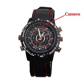 USB Rechargeable Waterproof Wristwatch with 1.3MP Pinhole Spy Camera and 8GB Memory