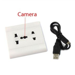 USB Rechargeable Sound Activated 300KP Pinhole Spy Camera Disguised as Power Socket