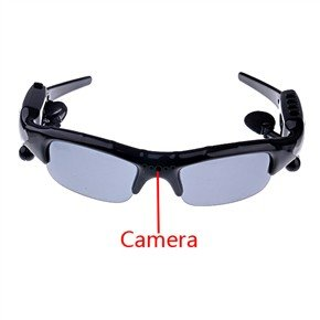Rechargeable 4GB 1.3MP Pinhole Spy Camera Sunglass MP3 Player with Bluetooth headset