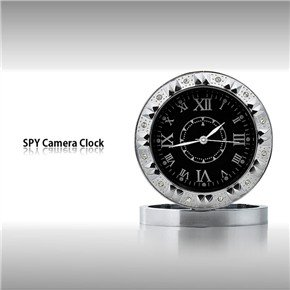 USB Rechargeable 0.3MP Pinhole Spy Camera Disguised in Luxury Clock Style