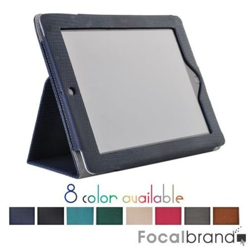 Dark blue magnetic Leather Case with Stand for iPad 2